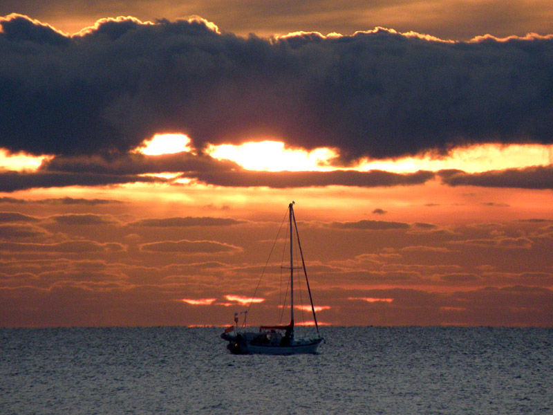Yacht in Cairns sunrise